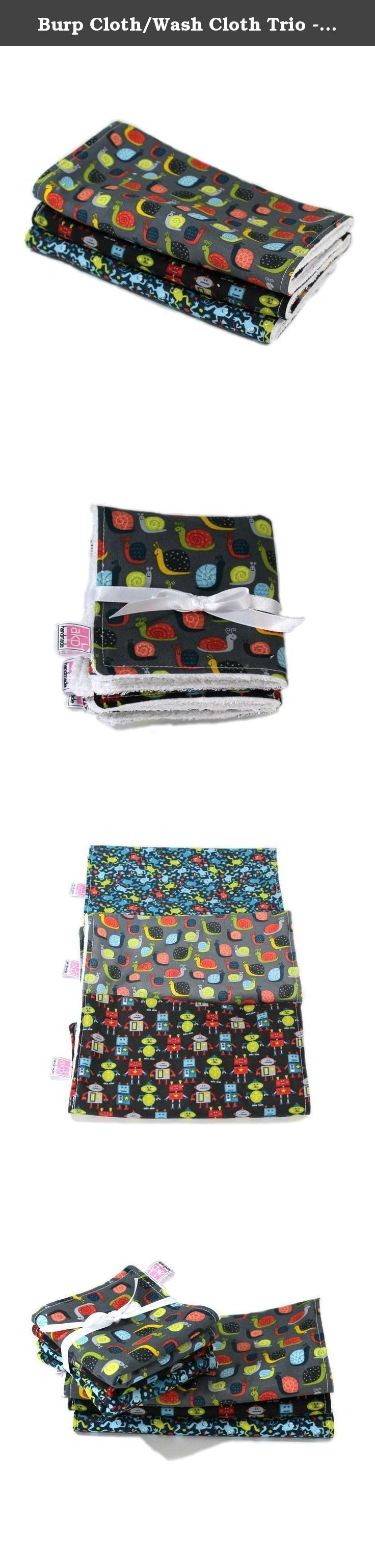 Burp Cloth/Wash Cloth Trio - Snails and More. These burp and wash cloth sets are the perfect gift for any new mom and her sweet baby! Made of 100% cotton designer fabric with 100% cotton terry cloth on the back, they are soft and super absorbent and are top-stitched for extra durability. Wash them over and over. Each burp cloth measures approximately 18 x 9 inches. The perfect size to throw over your shoulder, lay under the baby, or even use as a changing pad. Each wash cloth measures 9 x…
