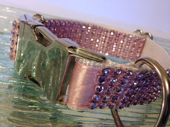 Faux Rhinestones Pink Bling Dog Collar Metal Buckle by DogFabulous