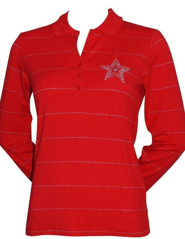 GANT Ladies Polo shirt Long Sleeve Ladies  Stretch Size M Red Silver striped