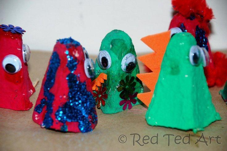 Egg Carton Monster Puppets: Cartons Puppets, Cartons Monsters, Egg Cartons, Monsters Puppets, Eggs Cartons, Ted Art, Cartons Fingers, Fingers Puppets, Finger Puppets