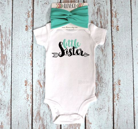 Little Sister Onesie and Headband / Custom Onesie with matching Baby headband