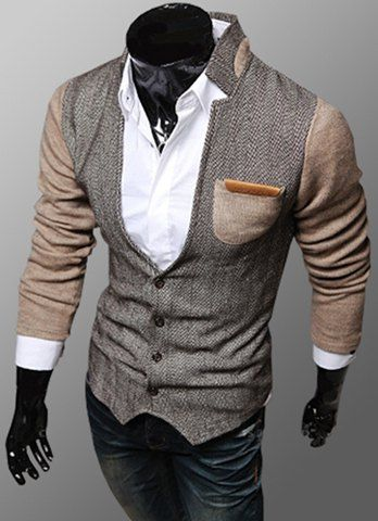 Trendy PU Leather Embellished Pocket Stand Collar Slimming Fabric Splicing Long Sleeves Coat For Men