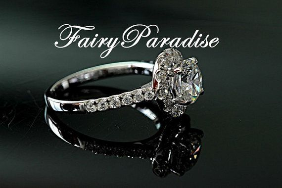1 quilate corte Halo anillo de compromiso por FairyParadise en Etsy