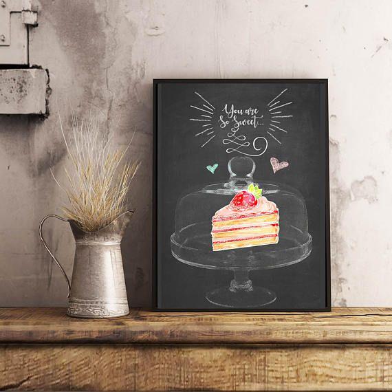 Cake Print Kitchen Wall Art Kitchen Print Cake Wall Art