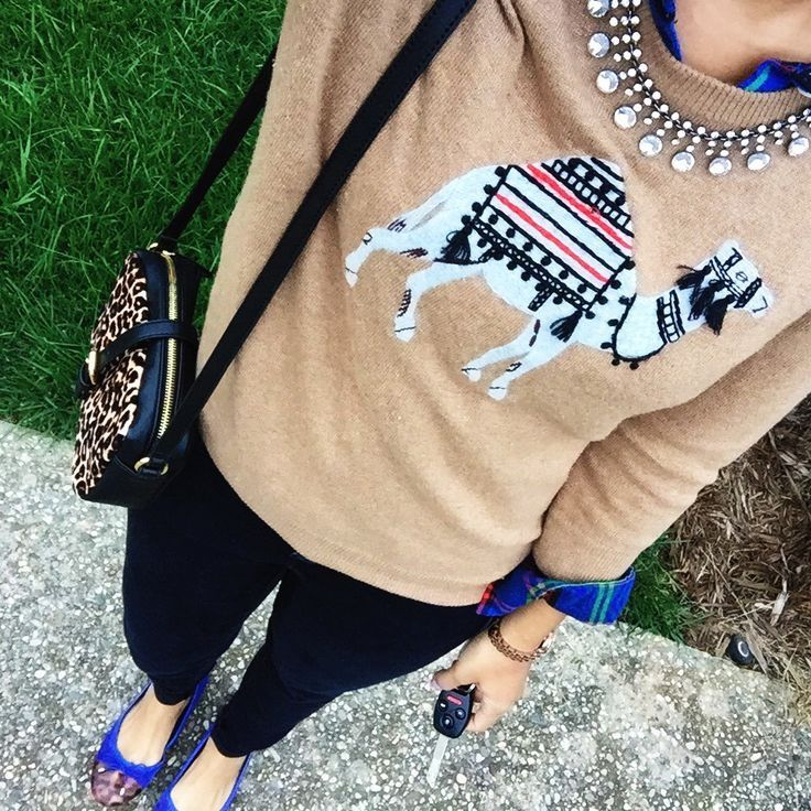 What Nicole Wore: IG Roundup // how to wear a graphic sweater, j crew sweater, fall sweater outfit inspiration, layering sweaters fall, plaid shirt outfit idea, cobalt flats @jcrew @oldnavy @clarksusa @groopdealz