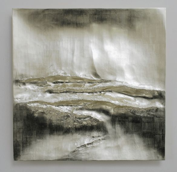 Beaux Arts Gallery - Luke Frost and Simon Allen  Simon Allen   Atlantic II   12 ct White Gold on Carved Wood   85cm Sq (33.5 inches)