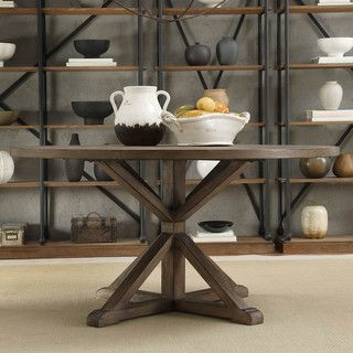 TRIBECCA HOME Benchwright Rustic X-base 60-inch Round Pine Wood Dining Table