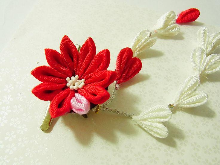 Tsumami Kanzashi flower brooch and hair clip  Kimono Japanese Chirimen - chrysanthemum (Red) by chirimenbunny on Etsy