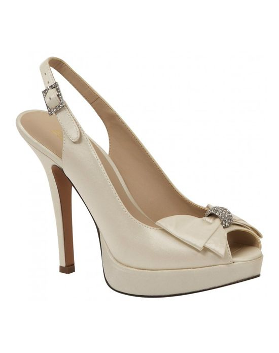 Brianna Leigh Crown Bridal Shoes Feature A Rhinestone Ornamented Bow Comfort Enhancing Peep Toe Adjustable Slingback Strap Platform And Sexy High Heel