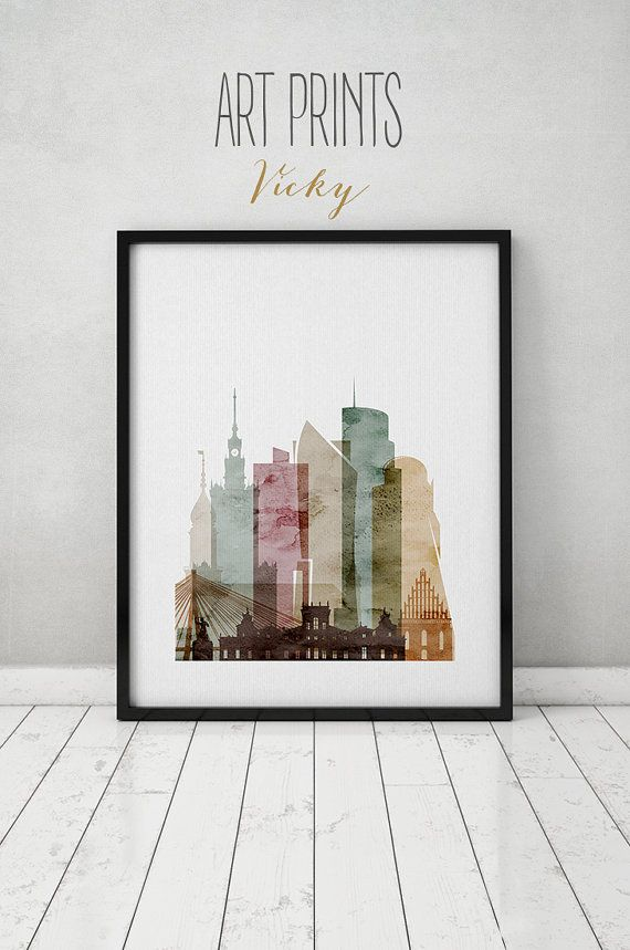 Warsaw art print watercolor poster Wall art by ArtPrintsVicky