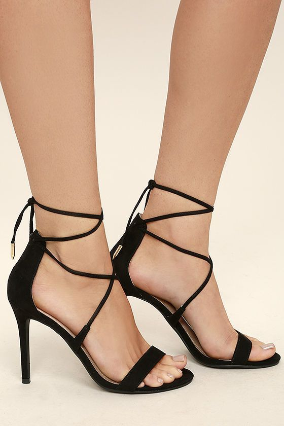 Top off your LBD with a choker and the Aimee Black Suede Lace-Up Heels! These sexy single sole heels, made from vegan suede, have a peep-toe upper, strappy vamp, and long laces with gold aglets that tie around the ankle.