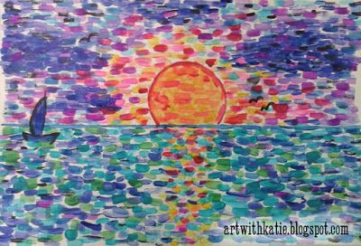 "Sun set art for kids using the impressionist ""dab"" style of painting. Paint Like"