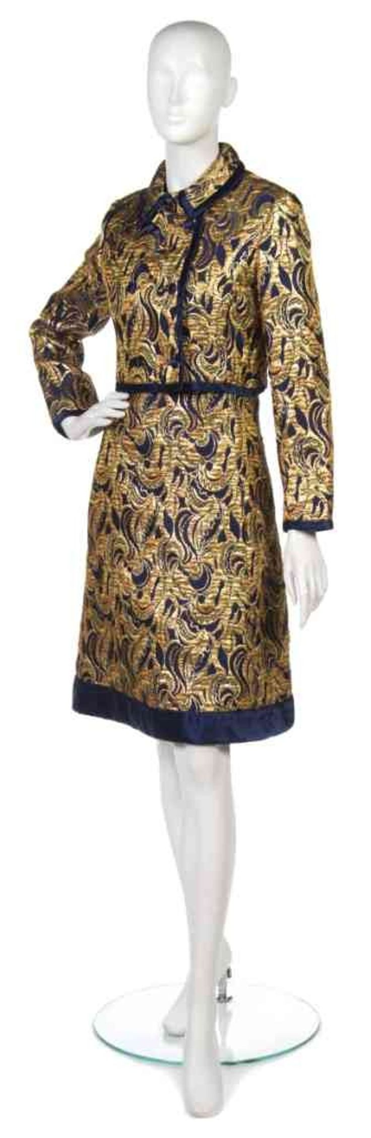 69: A Malcolm Starr Navy Blue Gold Brocade Dress Suit. - 2