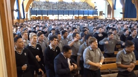 Students at a New Zealand high school chose to give a moving farewell to a veteran teacher with a rousing performance of the haka at an assembly earlier this year. Guidance counsellor John Adams was a teacher at Palmerston North Boys' High School for 30 years, starting out as a substitute teacher in science and agriculture studies in February 1986.   As seen in footage viewed more than 300,000 times, hundreds of students performed an emotional haka in the school's hall on on April 14, 2016…