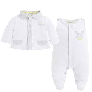 Conjunto de chaqueta y pelele de punto Blanco - Mayoral 33 euros