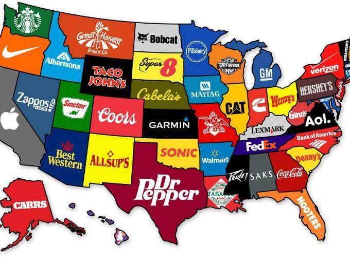 Las Marcas Que Nacieron En Estados Unidos Mapa De Estados Unidos Mapas Del Mundo Mapas