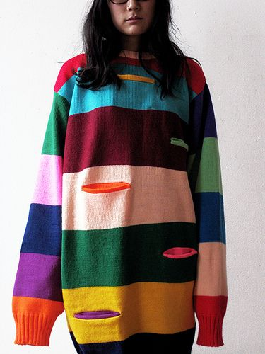 I don't care for the pockets, but the sweater is cute. | NOBI NOBI Big Stripes, Small Pockets