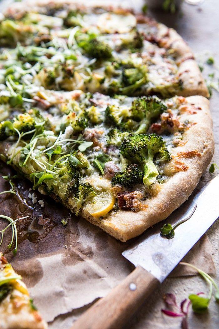 Whole Wheat Lemon Roasted Broccoli Pizza   halfbakedharvest.com #healthy #pizza #recipes #broccoli