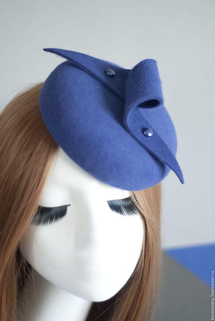 """Купить """"Флер"""" - васильковый, маленькая шляпка, сиреневый, шляпка, женская шляпка, шляпка-таблетка"""