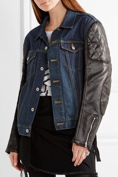 Junya Watanabe - Printed Denim And Faux Leather Jacket - Dark denim