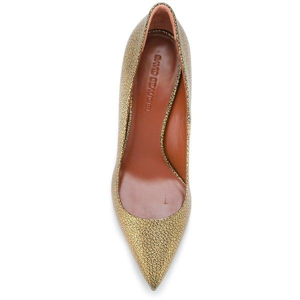 David Beauciel - 'Amelia' pumps - women - Leather - 36 (£300) ❤ liked on Polyvore featuring shoes, pumps, metallic leather pumps, metallic pumps, metallic leather shoes, leather pumps and metallic shoes