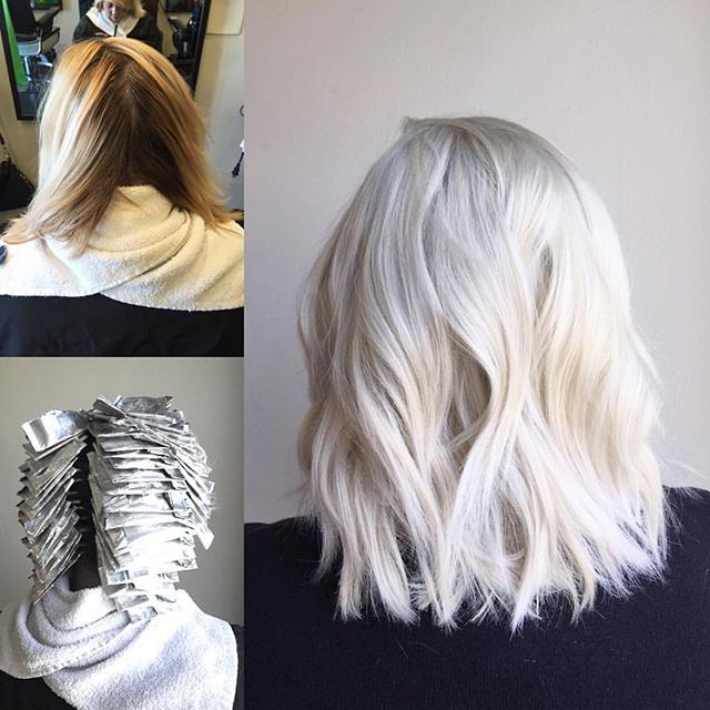 "@heatherwyko tells us AND shows us in this photo how she created this pale, icy platinum in one visit. Her technique is SPOT ON  ""I used @wellahair Blondor and @olaplex to lift, UTP and UTA from @paulmitchellus to tone and then applied @kenraprofessional 10SM."" #platinum #blonde #healthyhair #olaplex"