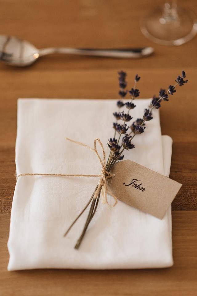 Lavender napkin sprig reception detail