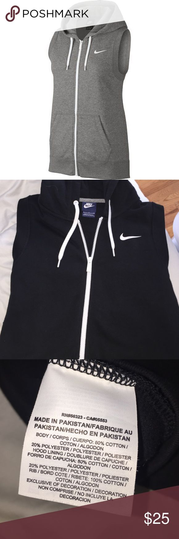 BLACK nike hooded vest Very soft hooded Nike vest in black. Perfect condition, worn once. Fits a small or medium. Offers welcomed! Nike Jackets & Coats Vests