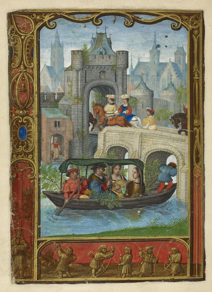 From the Medieval Manuscripts blog post 'A Calendar Page for May 2013'. Image: Calendar page for May with a boating scene, from the Golf Book (Book of Hours, Use of Rome), workshop of Simon Bening, Netherlands (Bruges), c. 1540