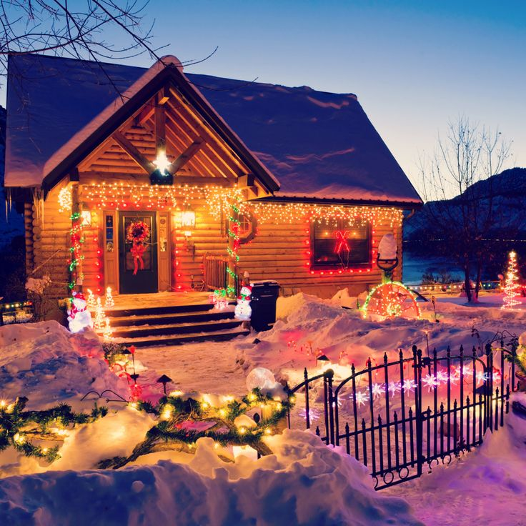 Casa in montagna, Neve, Luci di Natale, House, Mountains, Chalet, Snow, Xmas lights