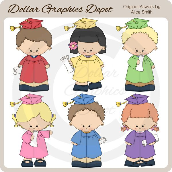 Kindergarten Graduation Clip Art Collection, by Alice Smith - Only $1.00 at www.DollarGraphicsDepot.com : Great for greeting cards, graduation announcements, party invitations, party favors, gift bags / boxes, gift tags / labels, teacher printables, bulletin boards, newsletters, printable photo frames, scrapbook pages, and lots more!