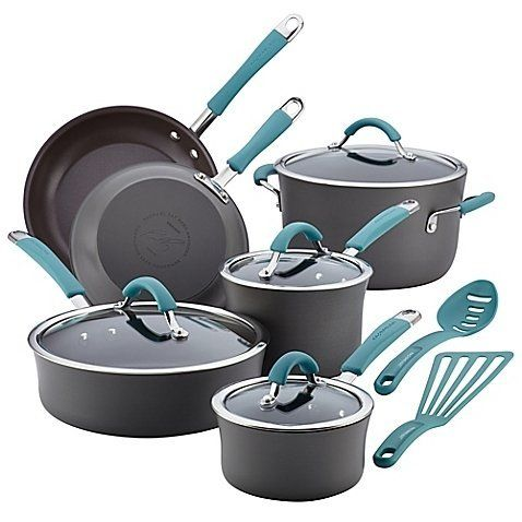 RACHAEL RAY Cucina Hard-Anodized 12-Piece Cookware Set - Grey/Agave $135 - FREE SHIPPING OR PICK UP - COMPARE ELSEWHERE $180+) InterexHome.Com