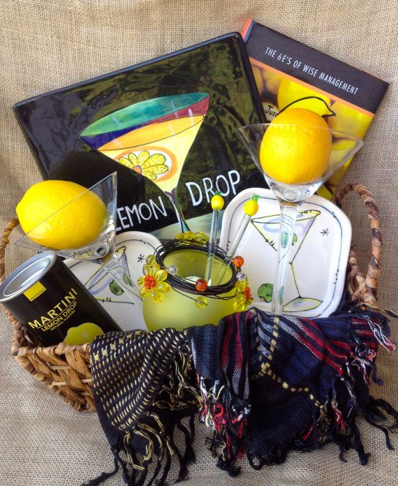 Unique Gift Basket Lemon Drop Martini Yellow And By