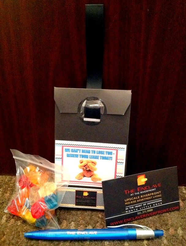 """We can't BEAR to lose you! Renew your lease today!"" Lease Renewal Bags to include on door with renewal notice/letter."