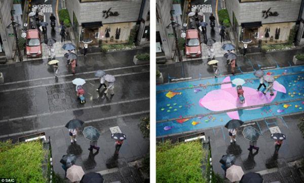 В Южной Корее нашли способ, как превратить мрачные дождливые дни в радостное, яркое представление