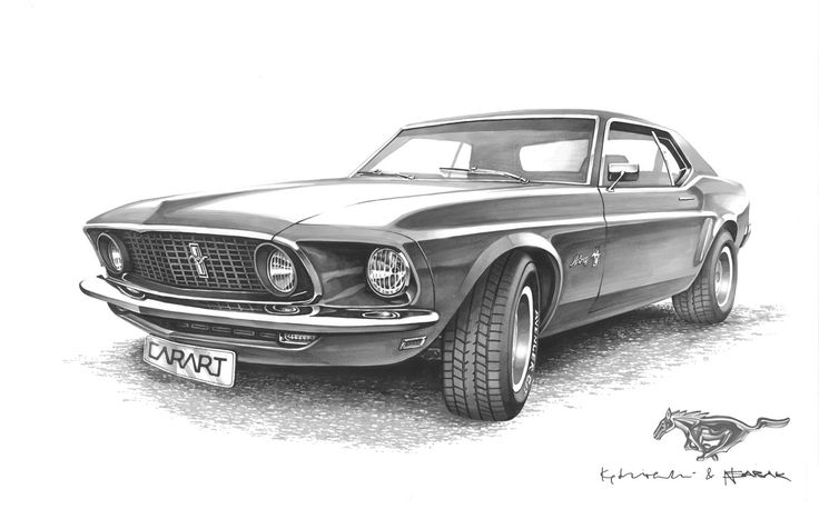 Ford Mustang Coupe 1969 Gray-scale Markers 70x50cm  2010y - drawn on order  Nikodem Sabak & Kędzierski Konrad