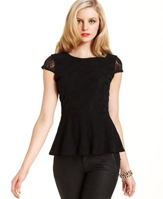 GUESS Top, Cap-Sleeve Lace Peplum
