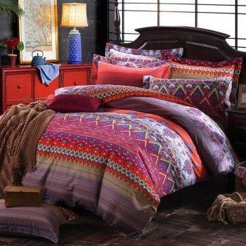 hot pink purple and rust orange chevron stripe and paisley pop print bohemian exotic tribal pattern bohemian bedding setsfull size printduvet