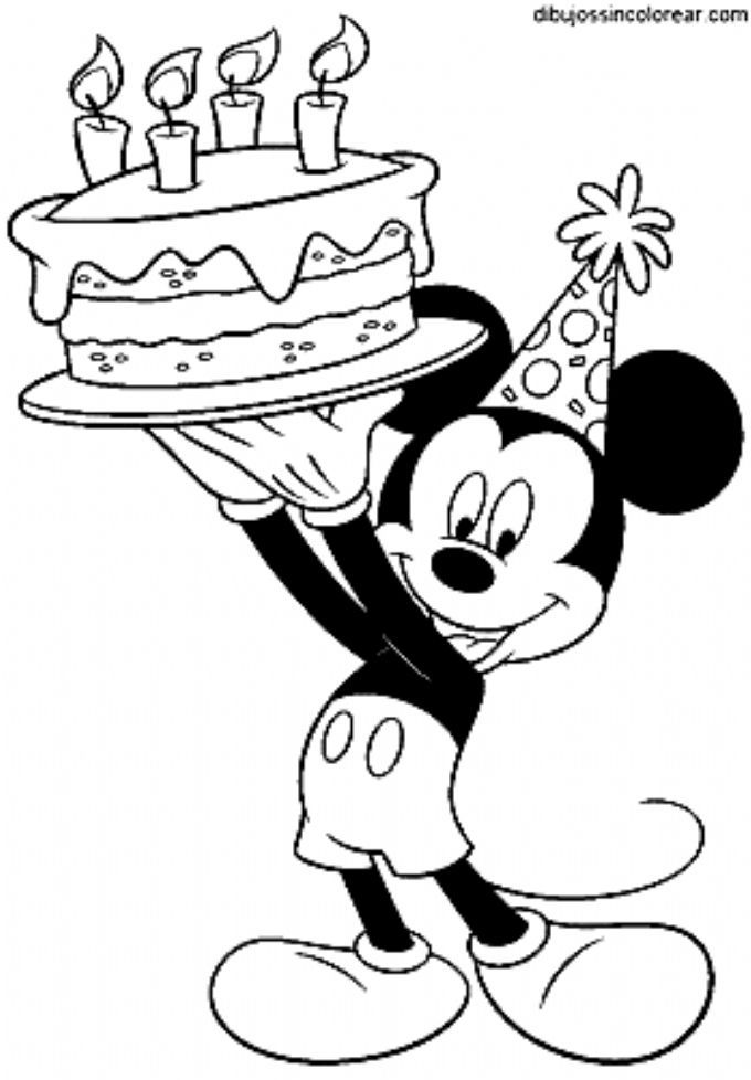 Disney Mickey Mouse Birthday Cake Party Coloring Picture Mickey Mouse Coloring Pages Mickey Coloring Pages Minnie Mouse Coloring Pages