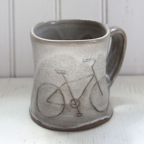 Most people find our mugs quite comfortable. The surface inside and outside is very smooth to the touch, and has a hand-carved design of a bicycle.