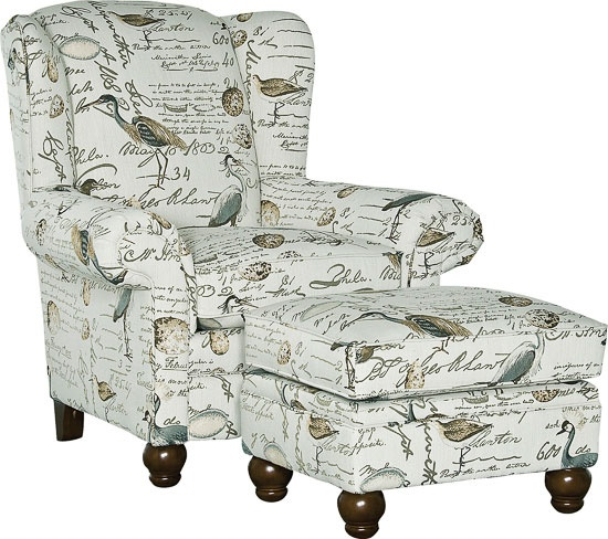 9020 Chair Amp Ottoman B Y Mayo In Birdsong Seamist Fabric