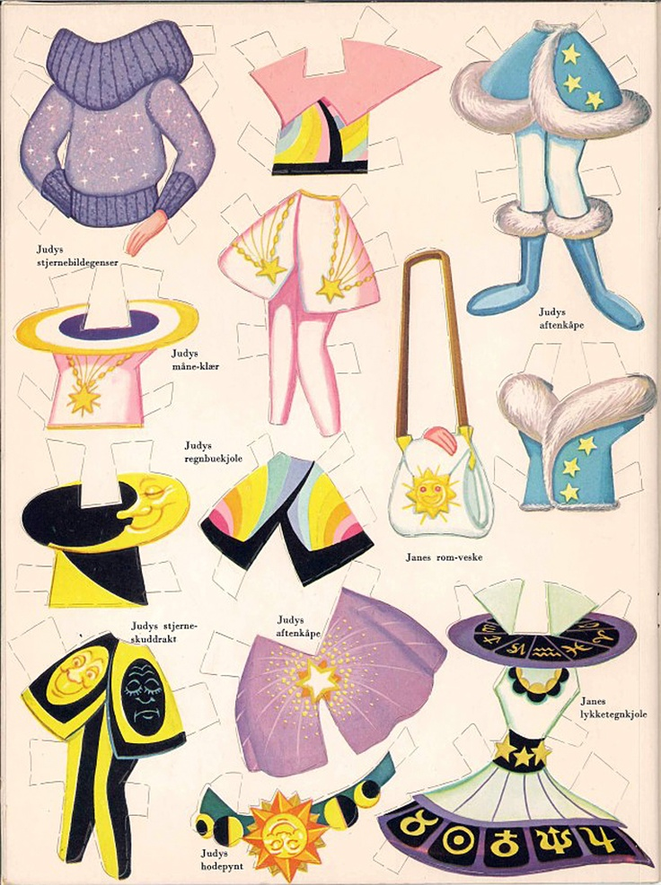 The Jetsons vintage paper dolls clothes to go with the paper dolls