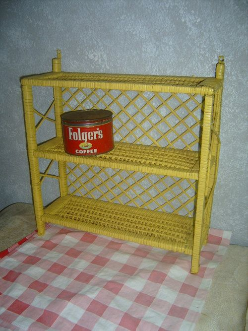 Country cottage chic yellow wicker woven wall shelf | Wicker Blog pinned by wickerparadise.com