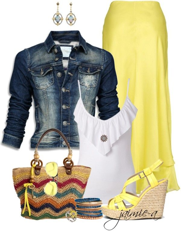 """Yellow Maxi Skirt & Denim Jacket"" by jaimie-a on Polyvore"