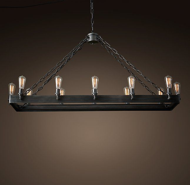 """We have this exact chandelier (San Sebastian Rectangular Chandelier 54"""") from Restoration Hardware that we'd like to use in the house. I'm thinking in the dining room?"""