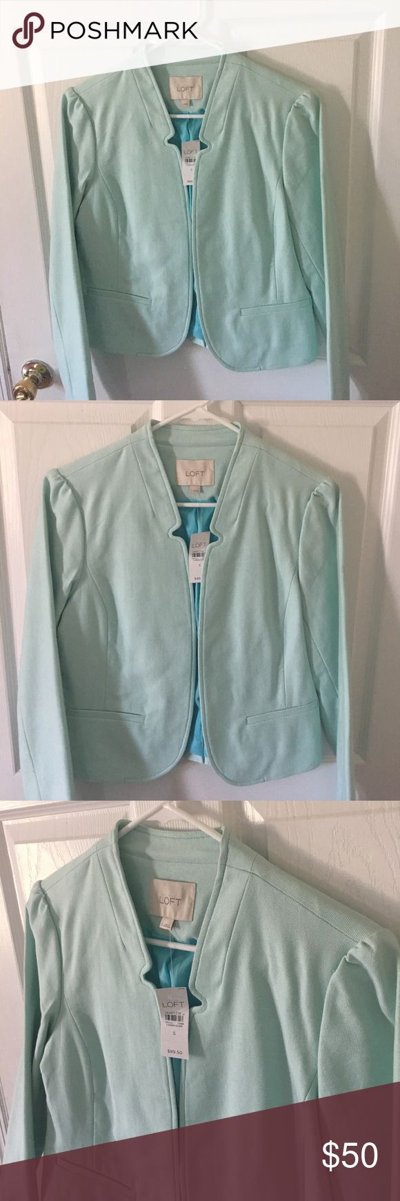 Loft Mint Green Blazer Size Small NWT Cotton Blazer, fully lined with pockets. Beautiful Mint Green color, perfect for spring! NWT LOFT Jackets & Coats Blazers