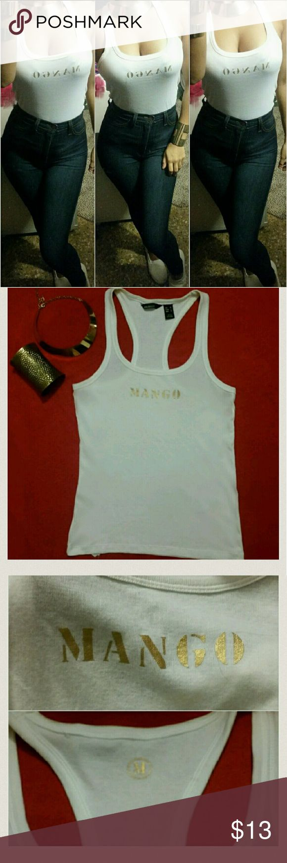 """3"" Pieces women! MANGO TOP & JEWERLY SET Mango White Logo Tank Top size: S(USED)Clean& Great Conditions!, Gold  metal Necklace & Cuff Long Bracelet  (NEW) Mango Tops Tank Tops"
