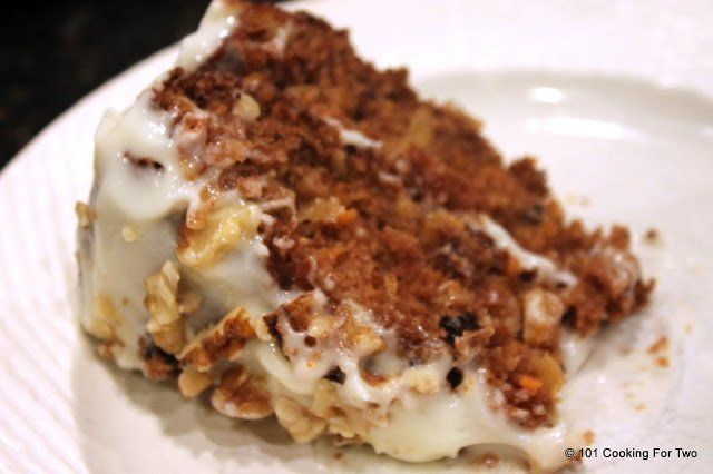 Wonderfully moist and almost good for you. At about 250 calories and 7 grams of fat you get one of the best carrot cakes I had.