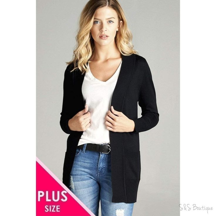 Curvy Size Open Front Cardigan