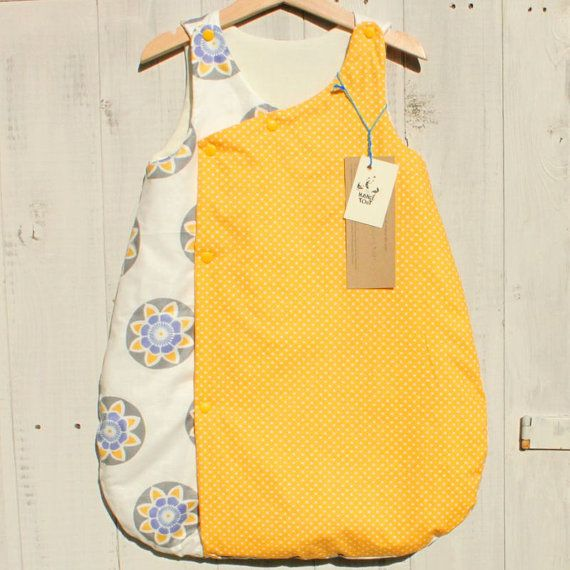 Baby grow bag, growbag, baby sleeping bag, gigoteuse, turbulette, baby blanket, yellow, african prints, £27.50